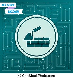 Trowel building and brick wall icon on a green background, with arrows in different directions. It appears on the electronic board. Vector