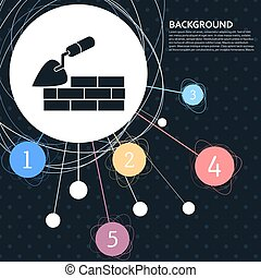Trowel building and brick wall icon with the background to the point and with infographic style. Vector
