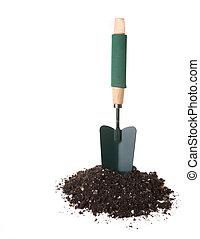 trowel, ferramenta, vertical, ficar, jardim