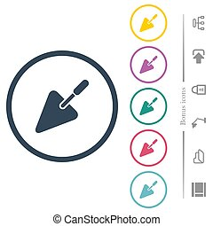 Trowel flat color icons in round outlines