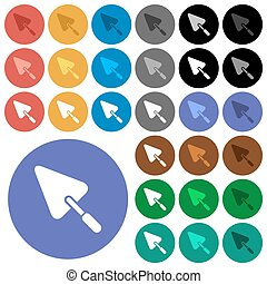 Trowel round flat multi colored icons