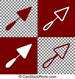 Trowel sign. Vector. Bordo and white icons and line icons on chess board with transparent background.