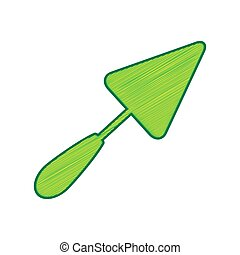 Trowel sign. Vector. Lemon scribble icon on white background. Isolated