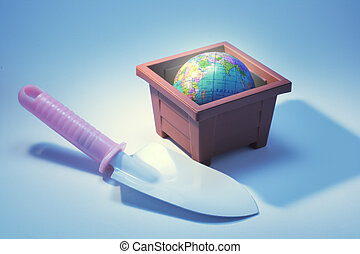 Trowel with Globe in Flower Pot