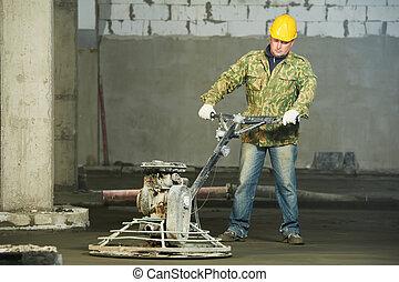 trowelling, 仕上げ, 労働者, コンクリート