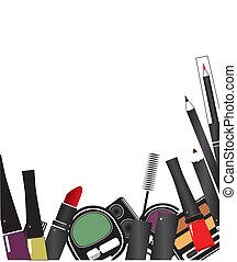 truccare, isolato, vettore, cosmetica, fondo, illustrazioni...