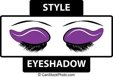truccare, logotipo, con, occhi, isolato, bianco, fondo., bellezza, moda