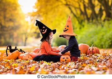 trucco, bambini, halloween, trattare, o