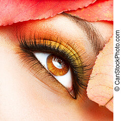 trucco, closeup, makeup., cadere, autunno