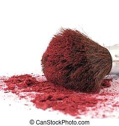 trucco, cosmetico, polvere, spazzola