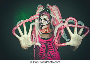 trucco, donna, halloween, cranio, zucchero