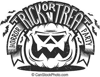 trucco, emblema, trattare, o, halloween