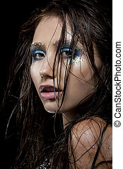 trucco, -, faccia, luminoso, femmina, concettuale, fresco