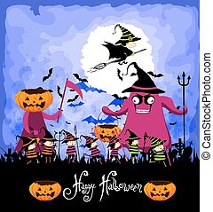 trucco, halloween, bambini, felice