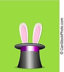 trucco magico, coniglio, in, nero, cilindro, hat.