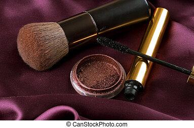 trucco, make-up., fondo, accessori