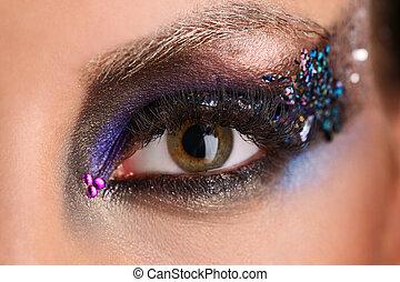trucco occhio, con, colorito, crystals., primo piano