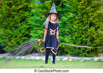 trucco, poco, halloween, autunno, strega, costume, treat., ragazza, day., adorabile, o