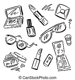 trucco, set., cosmetics.
