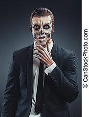 trucco, sorpreso, uomo affari, scheletro