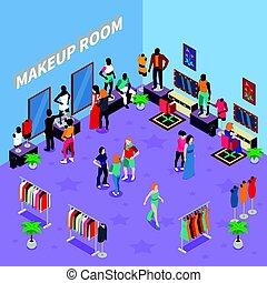 trucco, stanza, con, indossatrici, isometrico, illustrazione