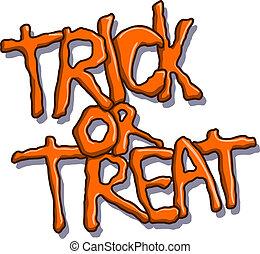 trucco, testo, halloween, o, trattare