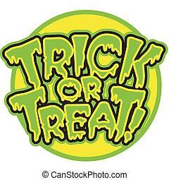 trucco, trattare, halloween, o, segno