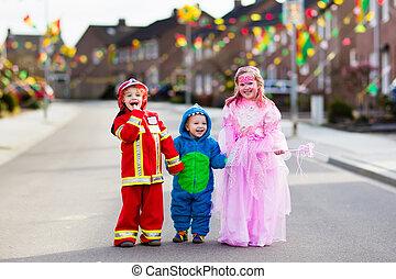 trucco, treat., bambini, halloween, o