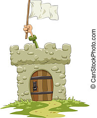 Fort with a white flag, vector illustration