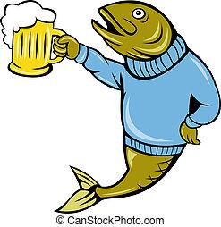 trucha, jarra, cerveza, pez, caricatura
