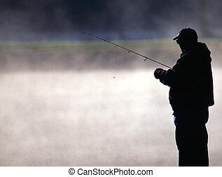 trucha, pescador
