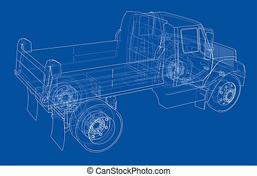truck., ゴミ捨て場, イラスト, 3d
