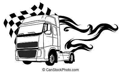 truck., 漫画, デザイン, 半, ベクトル, イラスト