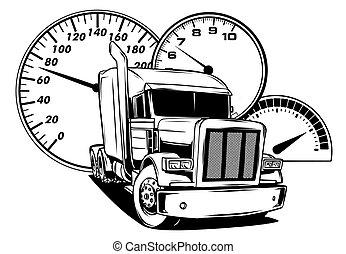 truck., 芸術, 漫画, デザイン, 半, ベクトル, イラスト