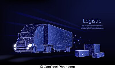 Truck. Abstract vector 3d heavy lorry van. Isolated on blue.
