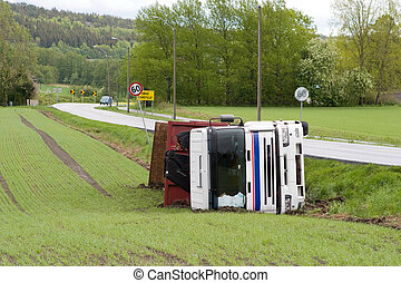 Truck Accident - A truck tipped over after an accident