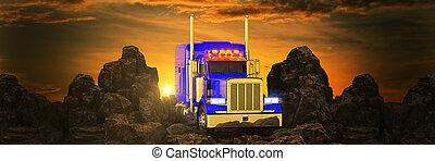 truck against sunset and mountains. 3d rendering