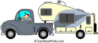 Truck and 5th wheel trailer - This illustration depicts a ...