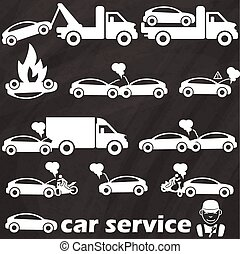 truck and car - tow truck icons and car crash accident. In...