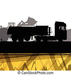 Truck and cargo in construction site with excavator tractors hydraulic machines and workers digging at industrial mine construction site abstract vector background