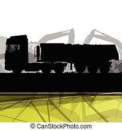 Truck and cargo in construction site with excavator tractors hydraulic machines and workers digging at industrial mine construction site abstract background