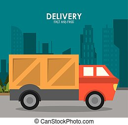 Truck and city icon. Delivery and Shipping. Vector graphic
