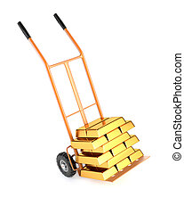 Truck and gold bullion, isolated on a white background. 3d illustration.