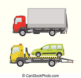 Truck and tow truck isolated on white background.