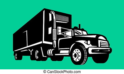 truck and trailer lorry retro - 2d animation of a truck and...