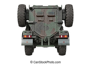 Truck army transport, back view