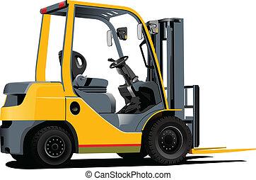 truck., ascensore, vettore, illus, forklift.