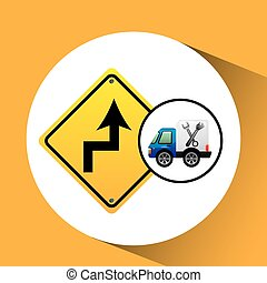 truck assitance with road sign