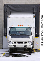 Truck at Loading Bay - Truck at Warehouse Loading Dock