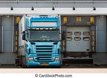 truck at loading dock - big truck at loading dock